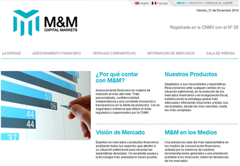 Website corporativo M&M Capital Markets